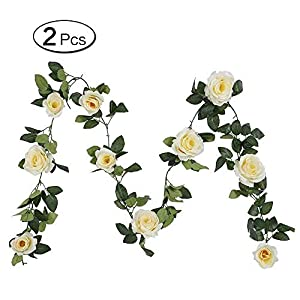 Lvcky 2Pcs Artificial Flower Garland Fake Rose Ivy Vine Hanging Plant for Home Wedding Party Craft Art Decor Champagne( ) 22