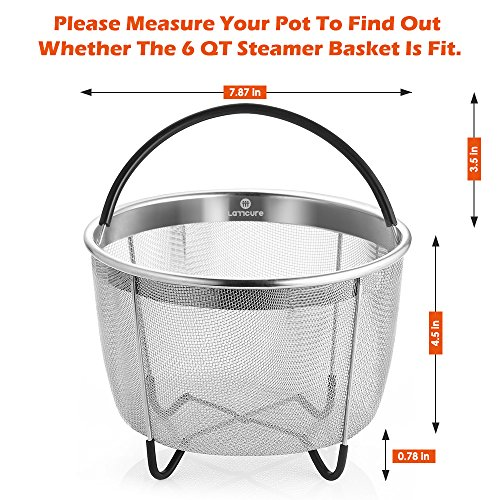LATTCURE Insant Pot Accessories Steamer Basket 6 qt, Food Grade Stainless Steel Pressure Cooker Steam Basket for Vegetable with Silicone Handle/Non-slip Legs Fits IP InstaPot by LATTCURE (Image #6)