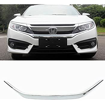 Rqing for Honda Civic 10th 2016 2017 2018 2019 Chrome Front Grill Grille Cover Trim