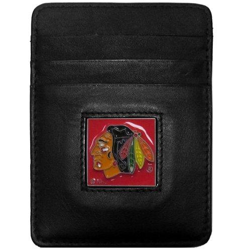 (NHL Chicago Blackhawks Genuine Leather Money Clip/Cardholder Wallet)