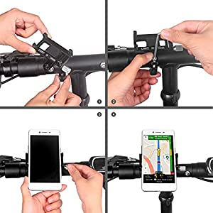 Bike Phone Mount - Aluminium Alloy Universal Adjustable Bicycle Holder Cell Phone GPS Mount Holder Rotating Cradle Clamp for Bike Motorbike, iPhone Samsung Android All Smartphones (Single-1 Pack)