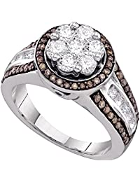 10K White Gold Womens Round Brown Color Enhanced Diamond Flower Cluster Ring 1-3/8-Carat tw