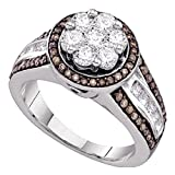 Roy Rose Jewelry 10K White Gold Womens Round Brown Color Enhanced Diamond Flower Cluster Ring 1-3/8-Carat tw