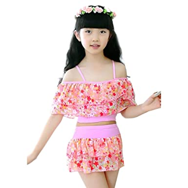 4b003fd6a Zoylink Girls' Swimsuit Floral Printed Ruffles Two-Piece Bathing Suits  Halter Swimwear for Beach