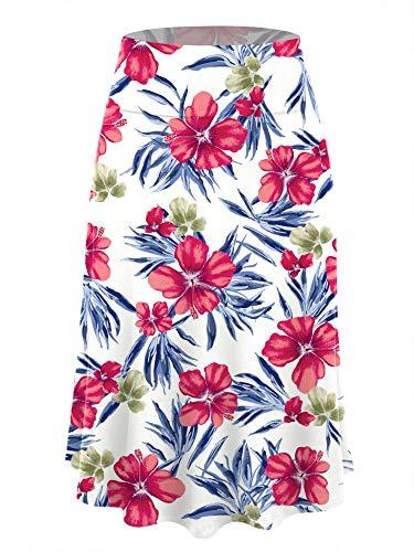 LL WB2172 Women's Floral Print Lightweight Flare Midi Pull On Closure Skirt XL White_Navy ()