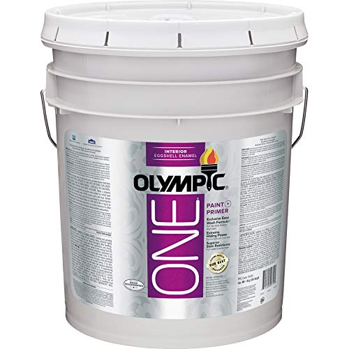 Olympic One White Latex Enamel Interior Paint and Primer in One Tintable 5 Gallons (Semi-Gloss)