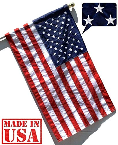 US Flag Factory - 3'x5' US USA American Flag (Pole Sleeve) (Embroidered Stars, Sewn Stripes) Outdoor SolarMax Nylon, UV Fading Resistant - Premium Quality - Made in America (3x5 FT)