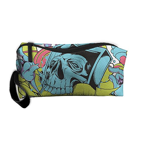 Portable Travel Storage Bags Skull Sk8 Clutch Wallets Pouch Coin Purse Zipper Holder Pencil Bag,kits Medicine And Makeup Bags (Sk8 Bag)