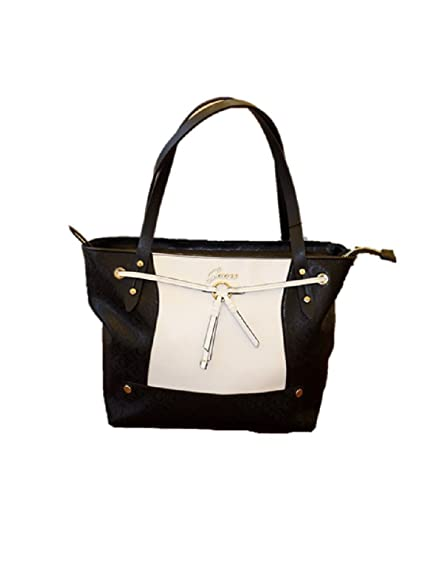 1f94139a77f0 New Guess ERMIA TOTE Faux Leather Black WHITESatchel Tote Bag Medium  Authentic  Amazon.co.uk  Shoes   Bags