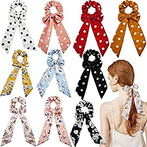FAMEZA Multicolour Fabric Hair Scrunchies Satin Silk Elastic Bands Ties for Women -6 Pcs