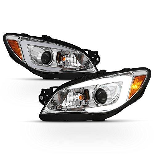 ACANII - For [Halogen Model] 2006-2007 Subaru Impreza WRX LED DRL Tube Projector Headlights Chrome Headlamps Left+Right