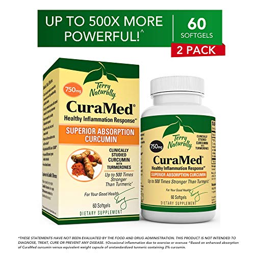 Terry Naturally CuraMed 750 mg 2 Pack – 60 Softgels – Superior Absorption BCM-95 Curcumin Supplement, Promotes Healthy Inflammation Response – Non-GMO, Gluten-Free, Halal – 120 Total Servings