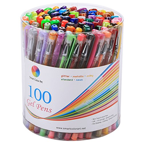 Smart Color Art - 100 Colors Gel Pen Set - Perfect for Coloring Books