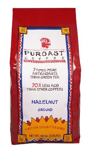 Puroast Low Acid Coffee Hazelnut Flavored Coffee Drip Grind, 2.5-Pound Bag