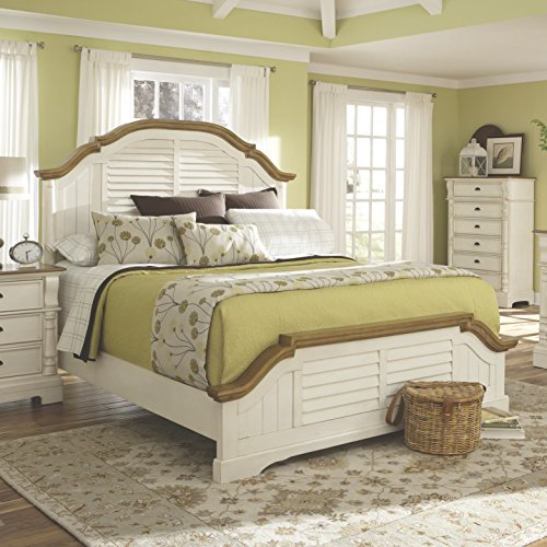 Coaster Home Furnishings Oleta Eastern King Panel Bed with Shutter Detail Buttermilk and Brown