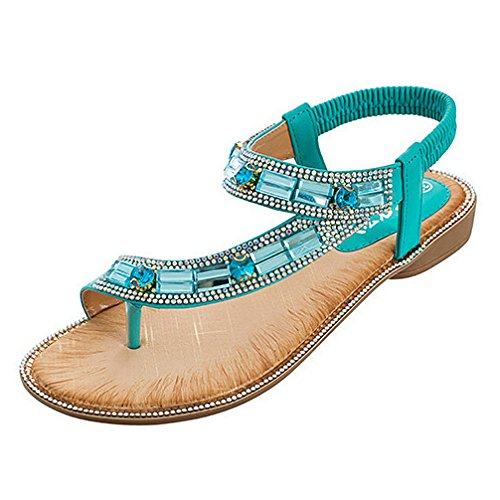 HGDR Women's Flat Sandals Summer Clip Toe Flip Flops Thongs Bohemian Style Beach Shoes Casual Shoes For Walking Vacation Green
