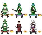 Weisu Teenage Mutant Ninja Turtles Figure Mini Building Blocks Set of 6,[Raphael, Michelangelo, Donatello and Leonardo,Splinter, Utrom Shredder] TMNT Toys Blocks Playset For Kids Birthday Party Gift