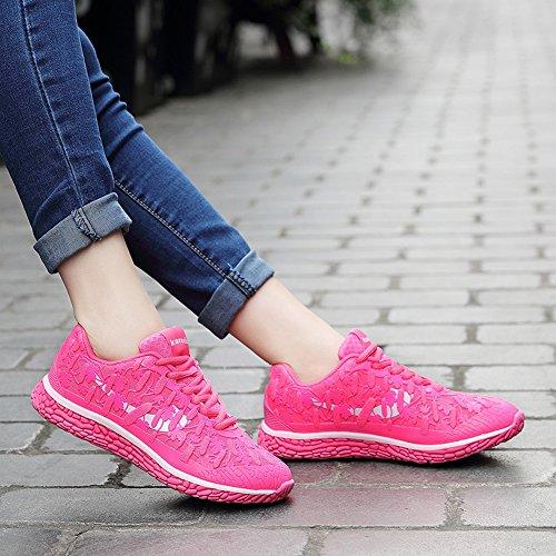 Jiye Donna Casual Scarpe Da Corsa Sportive Silenziatore Fluorescente Mesh Superiore Moda Sneakers Da Rosa Rossa