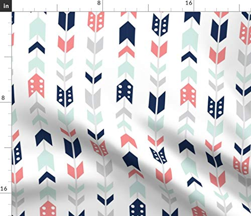 (Pink And Blue Chevron Arrows Fabric - Coral Navy Mist Nursery Decor Herringbone Stripes Baby Boy Girl Woodland Broken Print on Fabric by the Yard - Petal Signature Cotton for Sewing Quilting Apparel)