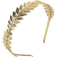XCOZU - Corona de hojas romanas, tiara de oro con banda de hojas, diadema para novia, para chicas, tocado de hoja de…