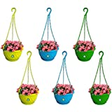 Trust basket Colourfull Plastic Hanging Basket with Bottom Saucer (Blue, Green, Yellow) - Set of 6