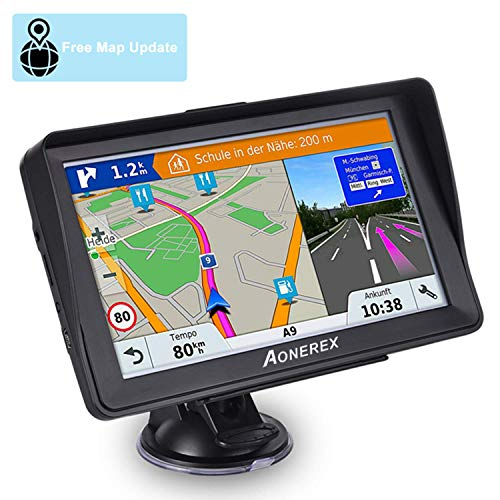 Car GPS, Aonerex 7 inch Touchscreen GPS Navigation System with Sunshade for Car Truck Motorhome &8GB 256MB Satellite Navigator Device with 2019 Maps Free Lifetime Map Updates (The Best Gps For Cars 2019)
