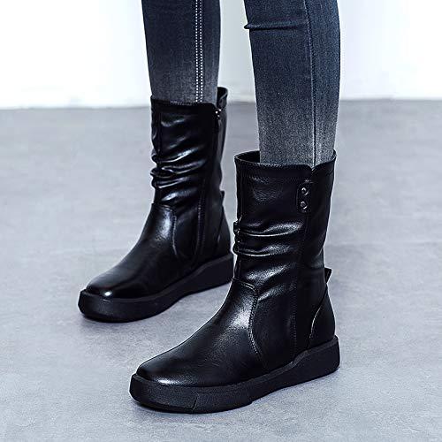 Fuxitoggo Frauen-Knopf-Stiefel-Knöchel-Flacher Reißverschluss Martin Casual Schuhes (Farbe : : Schwarz, Größe : : EU 40) - 24ab5b