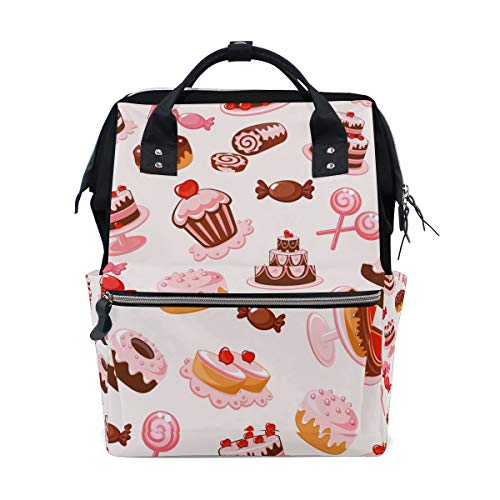 FOLPPLY Halloween Cake Candies Diaper Bags Mummy Tote Bags Large Capacity Multi-Function Backpack for Travel -