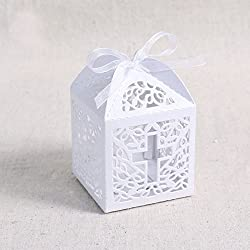 50pcs Cross Laser Cut Favor Box Christening Baby Shower Bomboniere with Ribbons Party Favors