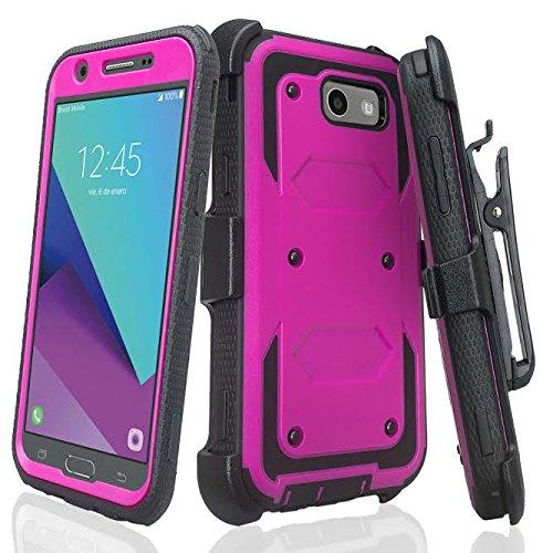 GALAXY WIRELESS Compatible for J3 Prime Case, Galaxy J3 Luna Pro Case, J3 Eclipse Case, J3 Emerge Case, Amp Prime 2,Express Prime 2,Sol 2,J3 2017, J3 Mission Belt Clip Holster, Full Protection, Purple