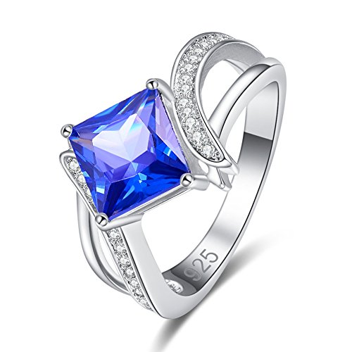 Veunora 925 Sterling Silver 8x8mm Princess Cut Tanzanite Filled Bypass Ring Size 7
