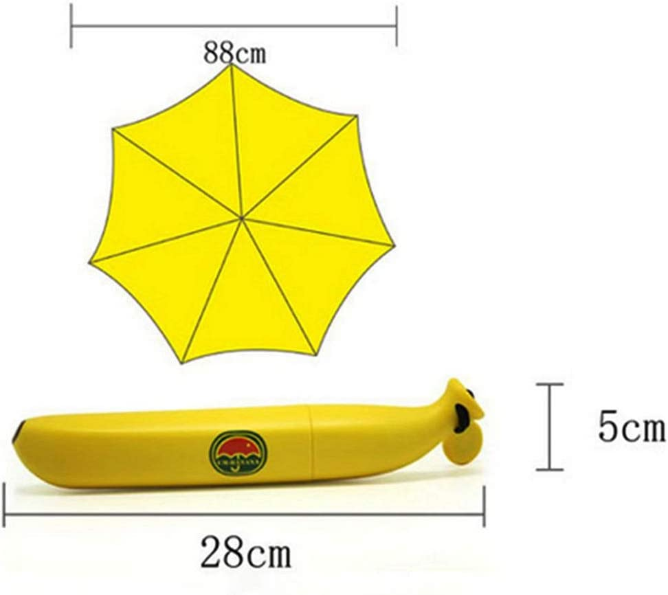 Softmusic Children Kids Lovely Anti-UV Rain Sun Umbrella with Banana Shape Box Windproof Folding