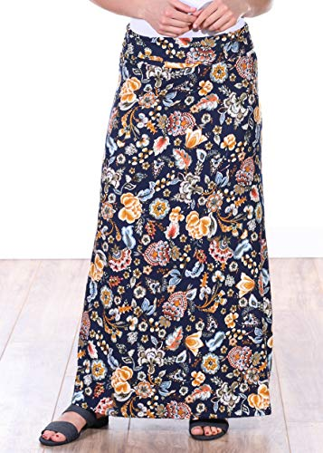 Popana Womens Casual Long Convertible Print Maxi Skirt Plus Size - Made in USA DT18 ()