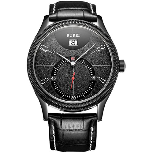 BUREI Mens Dress Dress Quartz Watches with Arabic Numbers Date Calendar Sapphire Lens Leather Strap
