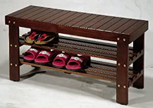 Roundhill Furniture Pina Quality Solid Wood Shoe Bench, Cherry Finish