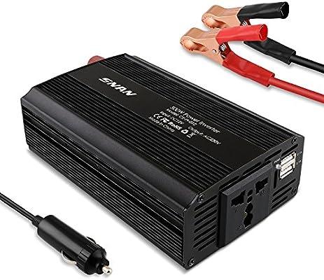SNAN 500 W Inversor para coche/barco/Camper con encendedor de aluminio + 2 Puerto USB, Car Charger para iPhone, Samsung Móvil y Otros Dispositivos ...