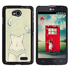GOODTHINGS Funda Imagen Diseño Carcasa Tapa Trasera Negro Cover Skin Case para LG Optimus L70 / LS620 / D325 / MS323 - carrocería muchacha bragas desnudos de dibujo arte desnudo