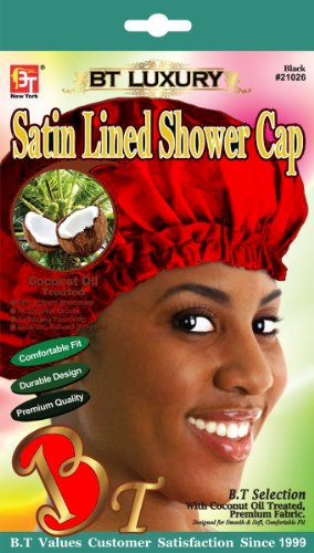 Beauty Town Satin Lined Shower Cap (Red)