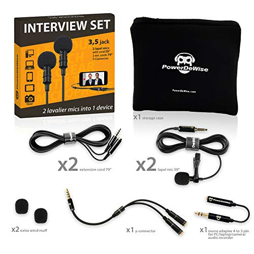 2 Lavalier Lapel Microphones Set for Dual Interview - Dual Lavalier Microphone - 2 Lavalier Microphone Set - Perfect as Blogging Vlogging Interview Microphone for iPhone 6, 7, 8, X (For Ipad Microphone 2)