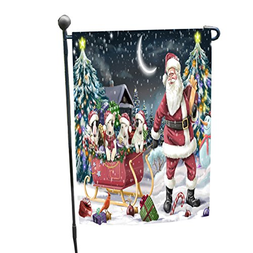 Merry Christmas Happy Holiday Santa Sled Bull Terrier Dogs Garden Flag (Bull Sled)