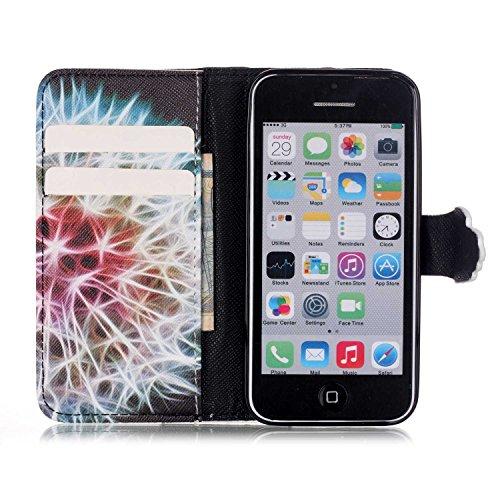 Voguecase® für Apple iPhone SE hülle ,Kunstleder Tasche PU Schutzhülle Tasche Leder Brieftasche Hülle Case Cover (Löwenzahn Fluoreszierend) + Gratis Universal Eingabestift