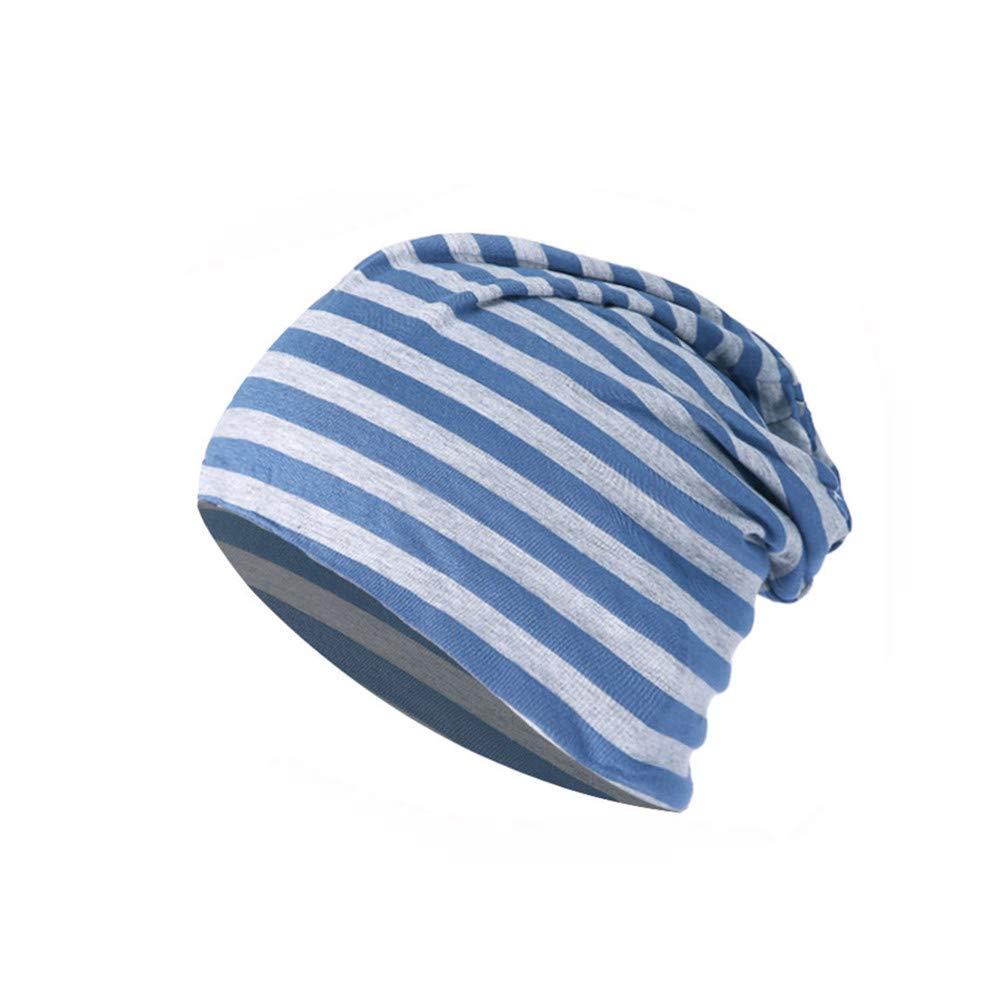 FTXJ Men Women Striped Warm Crochet Winter Knit Ski Beanie Skull Slouchy Caps Hat