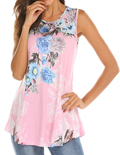 Tobrief Women Sleeveless Floral Print Swing Tunic Tank Tops (Pink, M)