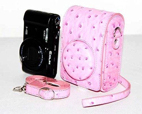 No.2 Warehouse Protective Ostrich Texture Pu Leather Short Focal Universal Camera Bag with 9mm Lens for Sony Rx100m3 Casio Zr1000 Zr1200 Samsung Nx Mini(pink)+ a Piece of Clean Cloth