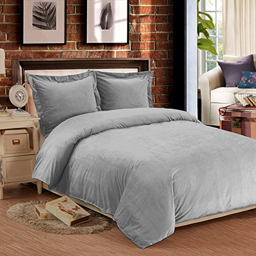 NTBAY 3 Pieces Duvet Cover Set Flannel Plush Velvet Warm and Cozy with Hidden Zipper (Queen, Light Grey)