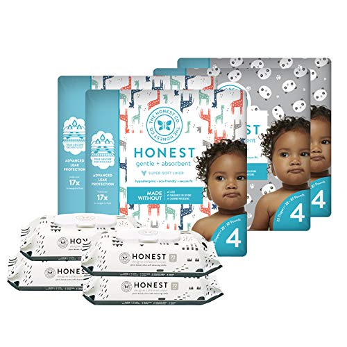 The Honest Company Super Duper Club Box with True Absorb Diapers & 288ct Designer Wipes, Pandas & Safari, Size 4, 92 Count ()
