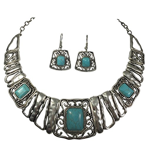 Boutique Style Burnished Silver Tone Bar Statement Bib Necklace Earrings Set (Simulated Turquoise)