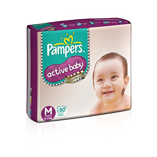Pampers Active Baby Tape Diapers Medium M Size 90 Pieces
