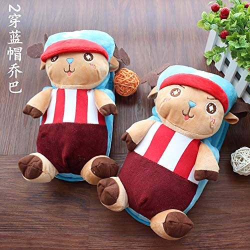 unique cute cartoon couple lover cotton slippers home warm winter (2 in blue cap - Beanie Choppers Hat