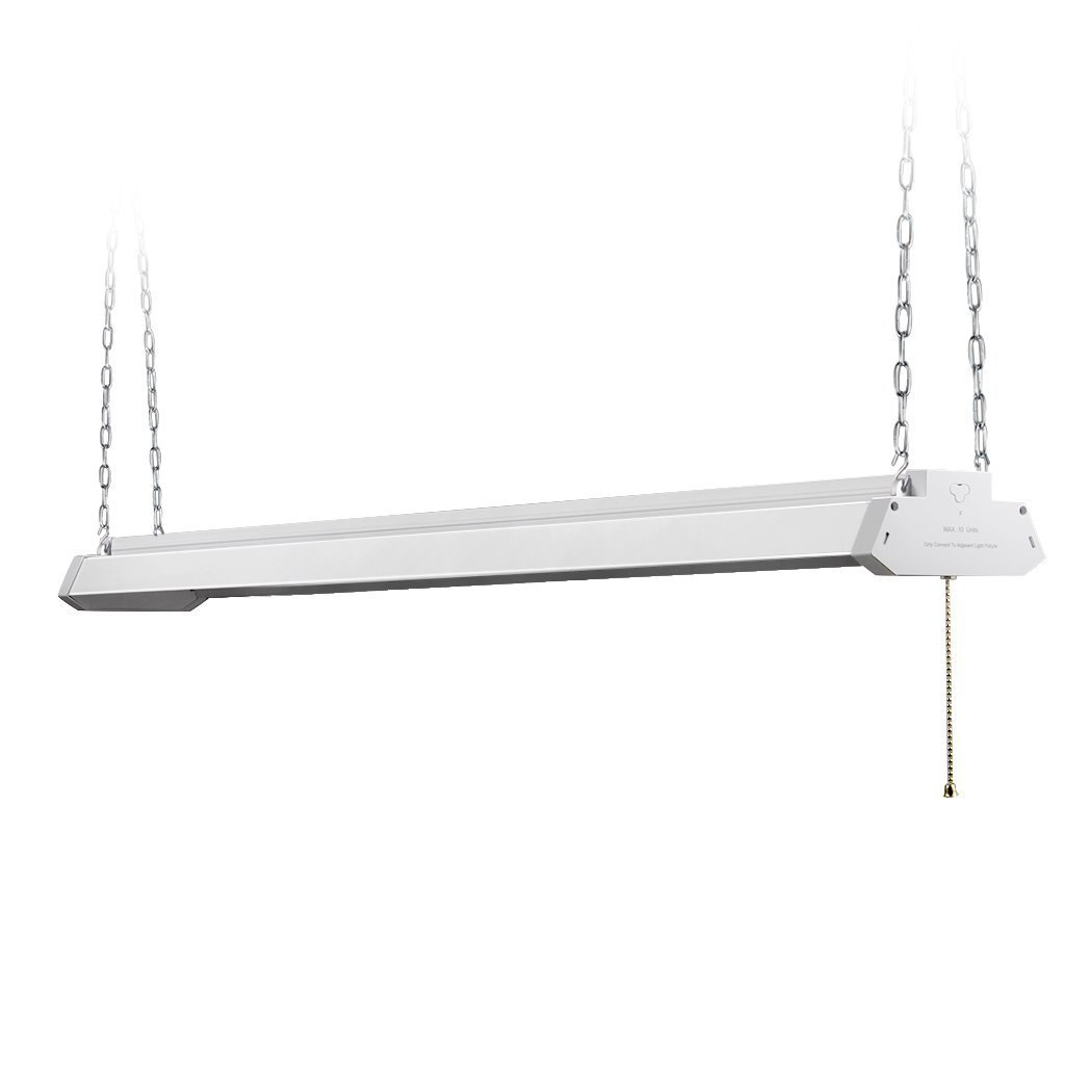 DOTT Arts LED Shop Light 4ft, Aluminum Housing, 42W 4500LM 5000K Daylihgt White, with Pull Chain On/Off, Linear Worklight Fixture with Plug, UL Listed, Energy Star Certified